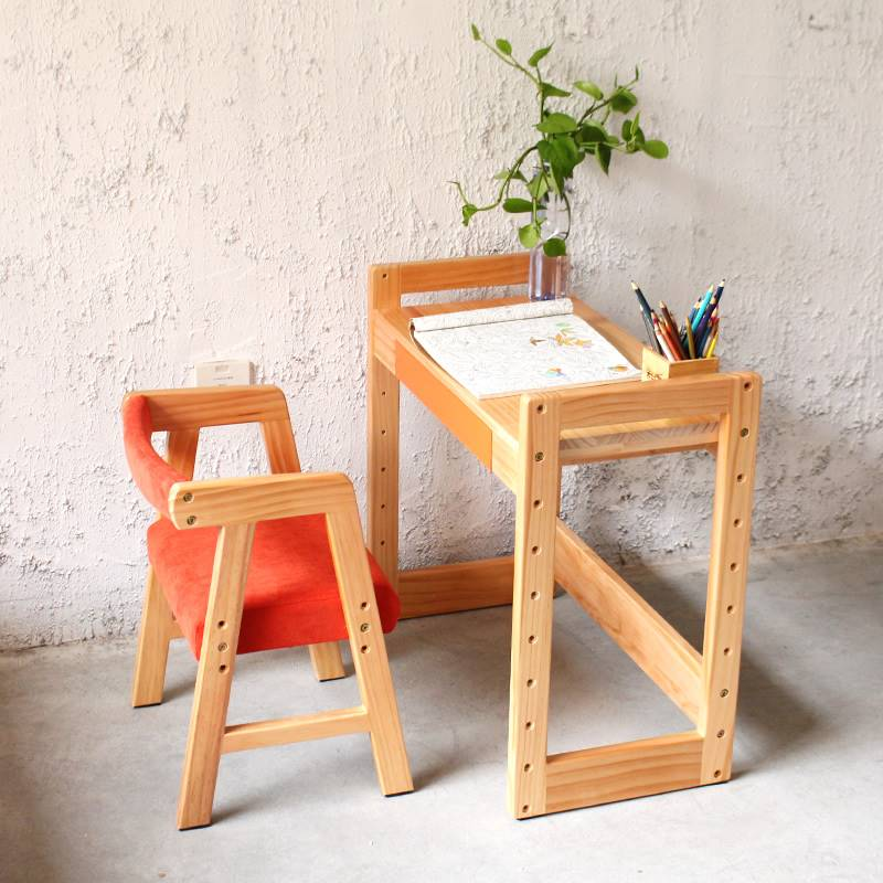 High Quality Student Desk Chair Set The Height Adjustable Children Learning Table Solid Wood Furniture Set Multicolor Optional