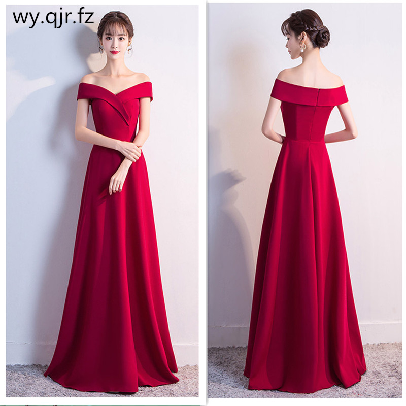 BSHS-85#Long Bridesmaid Dress Wine Red Boat Neck Wedding Party Prom Dresses Cheap Wholesale Custom Ball Gown Christmas Dress