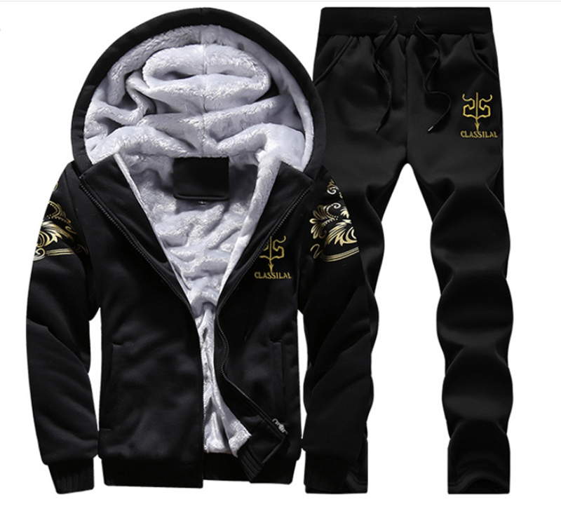 Hooded Autumn Streetwear Two Piece Sets Masculino Hoodies + Trouser 2 Piece Sets Hombre Men Tracksuit Printed Spring MOOWNUC