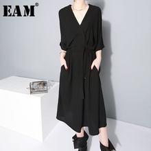 [EAM] 2021 nowa wiosna lato v-kołnierz pół rękawa Bandgae luźne Temperament luźne duży rozmiar szyfonowa sukienka kobiety moda JF733