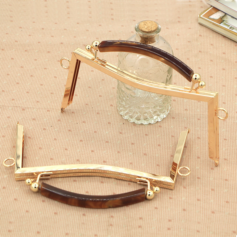 Gold Color Metal Purse Frame Handle Bag Hanger With Acrylic Clasp Wholease Bag Accessories Purse Handle Bag Strap Purse Frame
