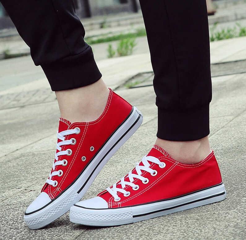 แฟชั่นเยาวชน Mens รองเท้า Unisex รองเท้าผ้าใบสีขาว Breathable เดินรองเท้าผู้ชายผู้หญิง Red Lace Up Flats ST22