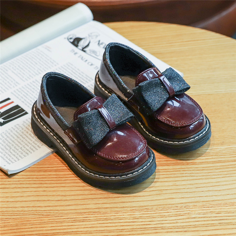 Kids Leather Shoes Spring New Girls Princess Solid Color Bow Flat Sneakers British Style Children Baby Girl Shoes SZ190