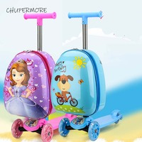 Cute Cartoon children skateboard Rolling Luggage Spinner multifunction Girl Boys Suitcase Wheels 18 inch Carry Ons Trolley