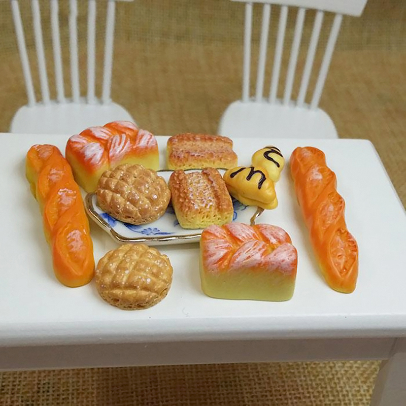 6pcs/set Simulation Mini Bread Pretend Play Toy 1:12 Dollhouse Resin Simulation Food Kitchen Scene Decor Dollhouse Accessories