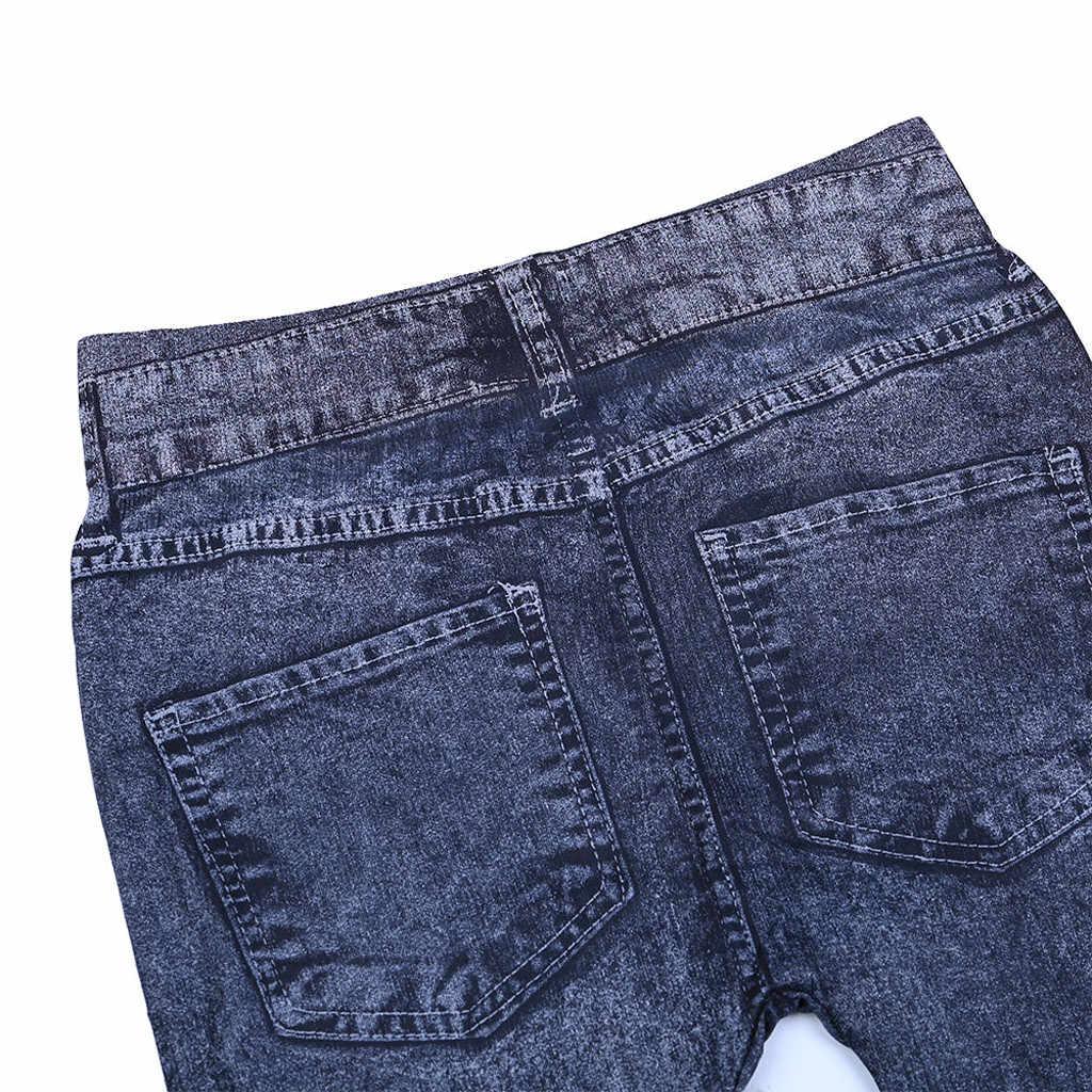 Otoño Invierno mujer pantalones vaqueros ajustados elásticos falso bolsillo frontal cintura alta lavado azul negro Delgado elástico señora Jeans