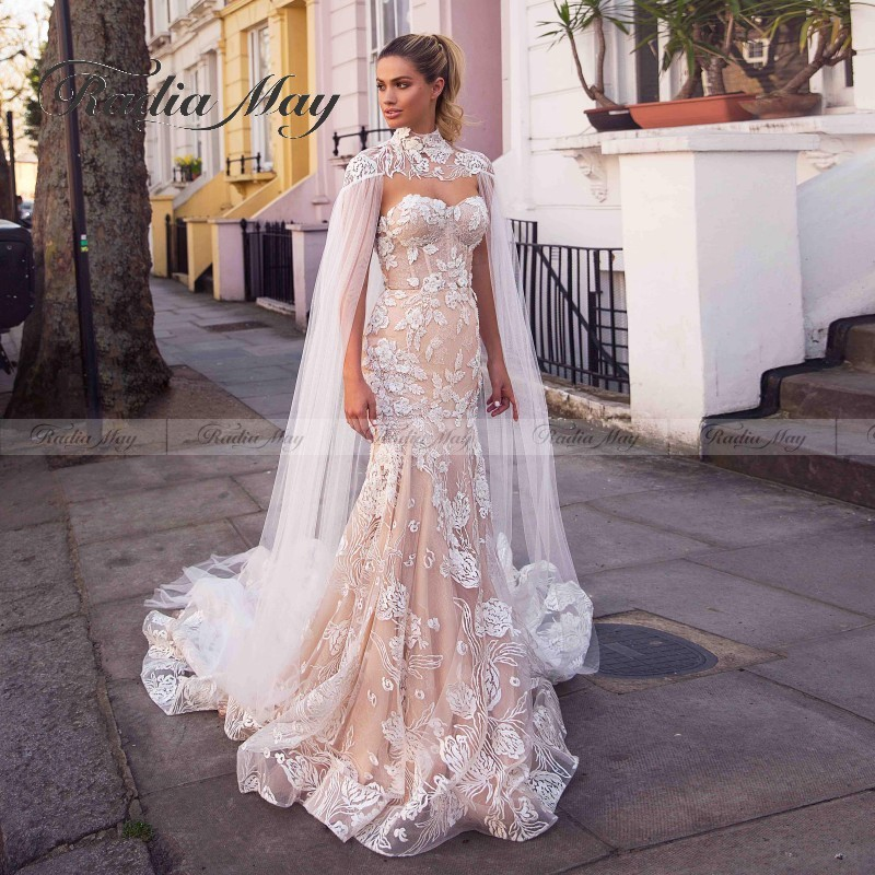 Vintage Lace 2 In 1 Wedding Dress Muslim Mermaid Islamic Cape Wedding Dresses 2020 Sweetheart Corset Court Train Bridal Gowns