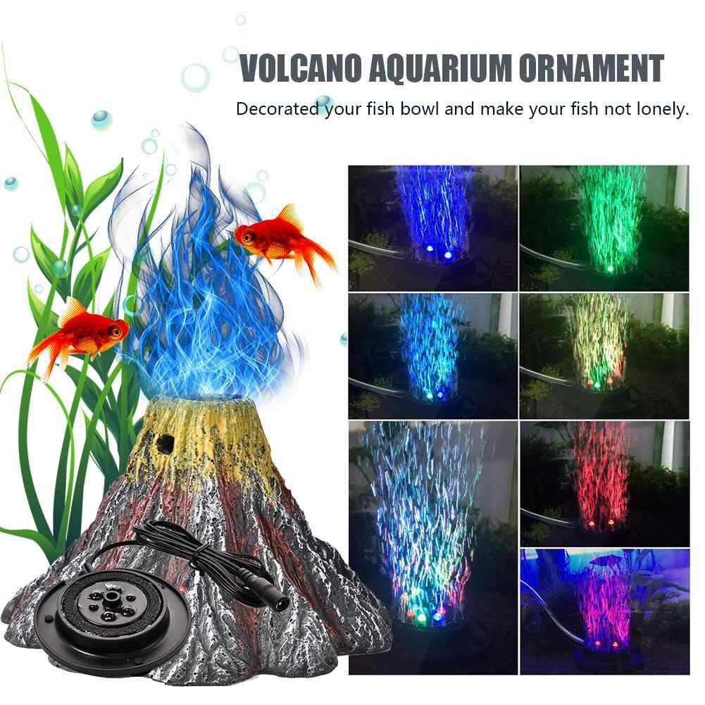 Akuarium Gunung Berapi Ornamen Kit dengan Batu Udara Pendingin Ikan Tangki Dekorasi IP68 Lampu LED RGB Fish Bowl LED Light Air batu