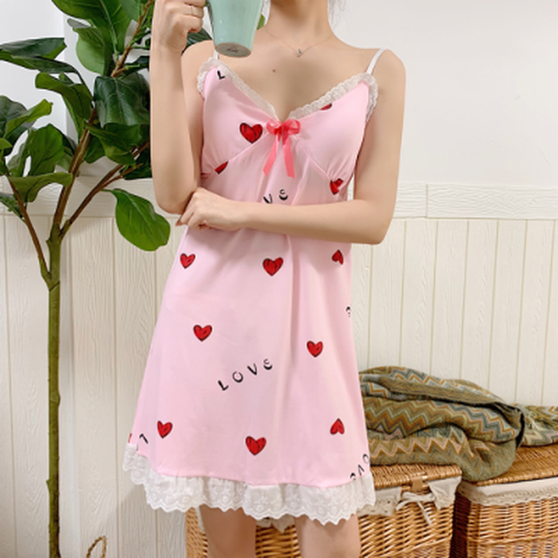 WAVMIT 2020 New Women Nightgown Sexy Sleepwear Shortless Sleeve Pyjamas With Chest Pad Girl Short Nightdress Lace Nightdress