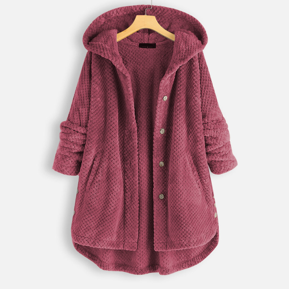 2020 Women Leisure Coat Solid Color Buttons Long Length Overdress Hooded Coat Long-Sleeved Hooded Stitching Loose Women Coat