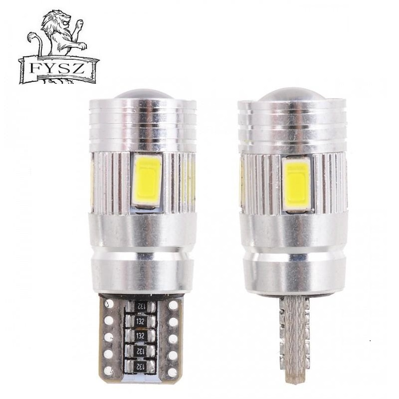 2 tk T10 W5W 194 6W 6000K 6-SMD auto LED-valgust kiirgavatest - Autotuled