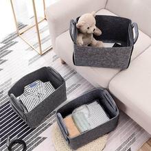 Складная корзина для белья, войлочная корзина для хранения книг, грязная одежда, игрушки, держатель, контейнер для рабочего стола, органайзер для комнаты