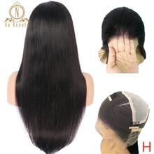 Pelucas transparentes de encaje completo cabello Natural sin pegamento prearrancado con pelo de bebé pelucas de cabello peruano liso nudos blanqueados 150%