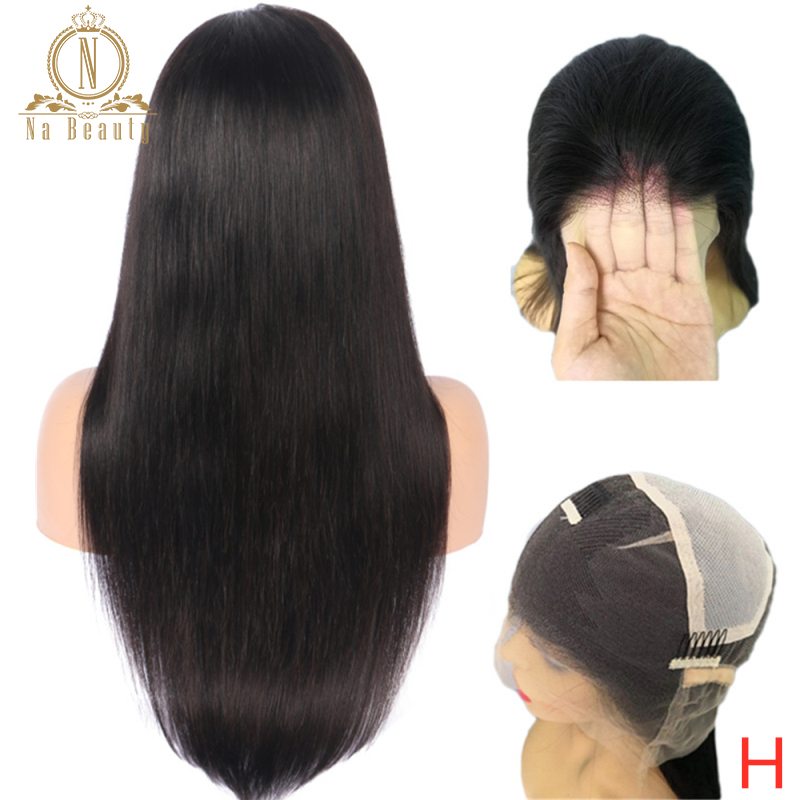 Transparent Full Lace Wigs Glueless Pre Plucked Natural Hairline With Baby Hair Straight Peruvian Hair Wigs Bleached Knots 150%