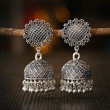 Indian Jewelry Thailand Afghan Women's Sunflower Carved Water Drop Dangle Earrings Oorbellen Brincos Boho Vintage Ethnic Jhumka