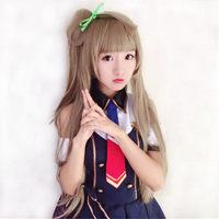 LoveLive! Love Live Kotori Minami Wig Halloween Hair High Temperature Silk Cosplay Costume Wigs + Green Bow Anime Cos Props