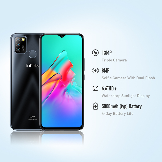 Global Version Infinix Hot 10 Lite 2GB 32GB Smart Phone 6.6''HD Screen Mobile Phone 5000mAh Battery 13MP AI Triple Camera 4
