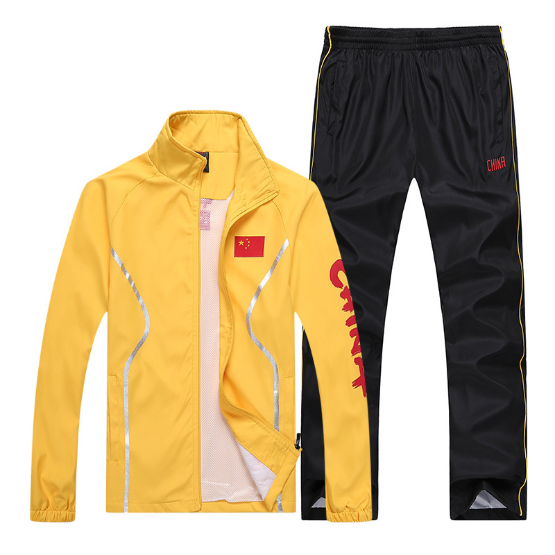 Spring And Autumn China National Team Sports Set Couples Long Sleeve Men And Women Students Class School Uniform Running Martial