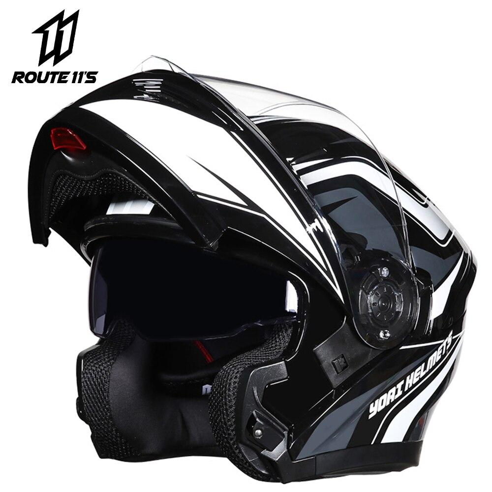 Мотоциклетный шлем YOAI, защитный шлем на все лицо, с двойными стеклами