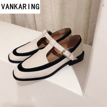 retro style color matching rough women's shoes T-strap handmade patent leather black white high heels office lady shoes platform