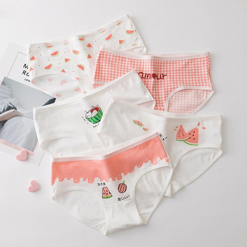 Cute Watermelon Print Cotton Panties Women's Sweet Female Menstrual Underwear Girls Cotton Briefs Students Lingerie Underpants