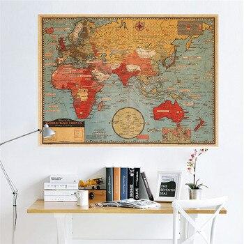 Póster Vintage Retro, situación de guerra mundial, decoración de pared con mapa, pintura decorativa, póster de papel Kraft, tarjeta de felicitación Vintage