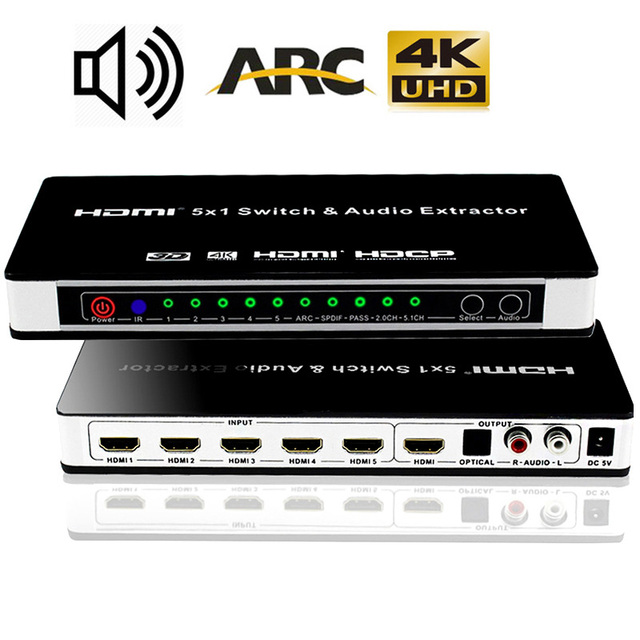HDMI מתג Switcher 5x1 עם אודיו Extractor 4K x 2K 3D ARC אודיו HDMI מתג עם מרחוק עבור PS4 Apple טלוויזיה HDTV,DVD,STB