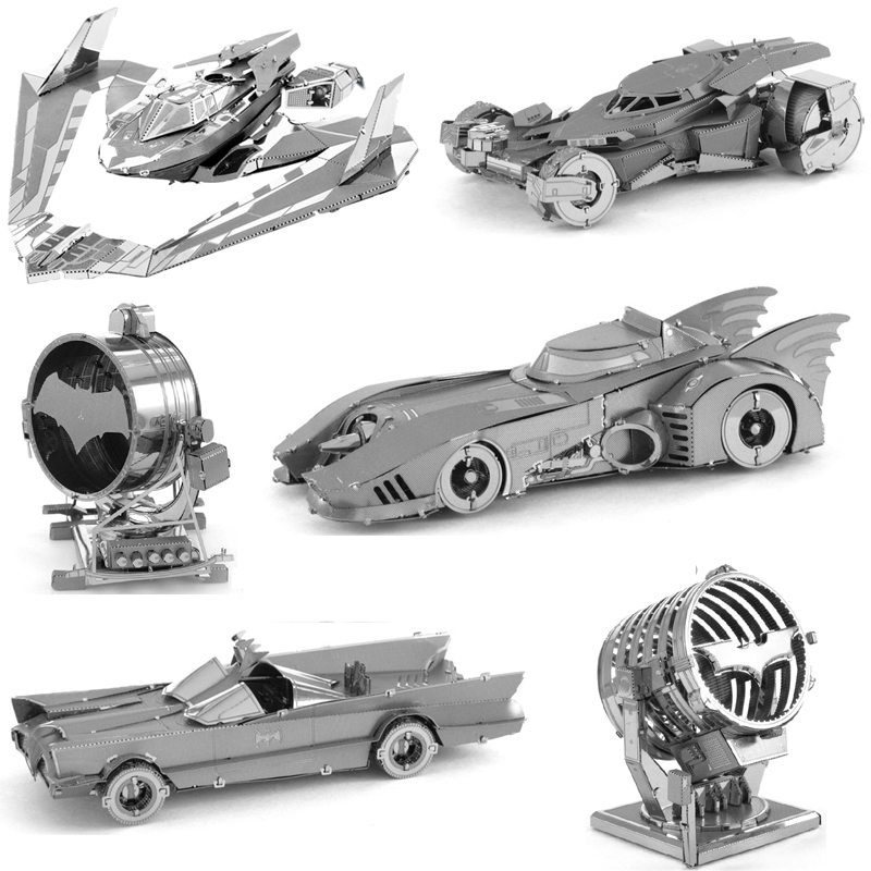 Batmobile Batwing BAT-Signal 3D Metal Puzzle Model Kits DIY Laser Cut Assemble Jigsaw Toy Desktop Decoration GIFT For Children