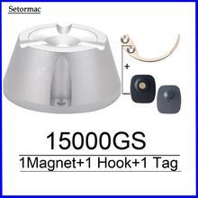 Removedor de etiqueta de seguridad de tela separador magnético Universal 15000GS y 1 separador de gancho de llave Super EAS separador para sistema EAS RF8.2Mhz