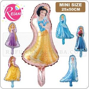 Mini Elsa Anna princesa blanca nieve Cenicienta campana princesa globos fiesta de cumpleaños decoraciones niños juguetes boda suministros