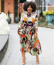 Felyn 2020 nova chegada senhora do escritório a linha vestido jóias arco plissado vestido midi vestidos