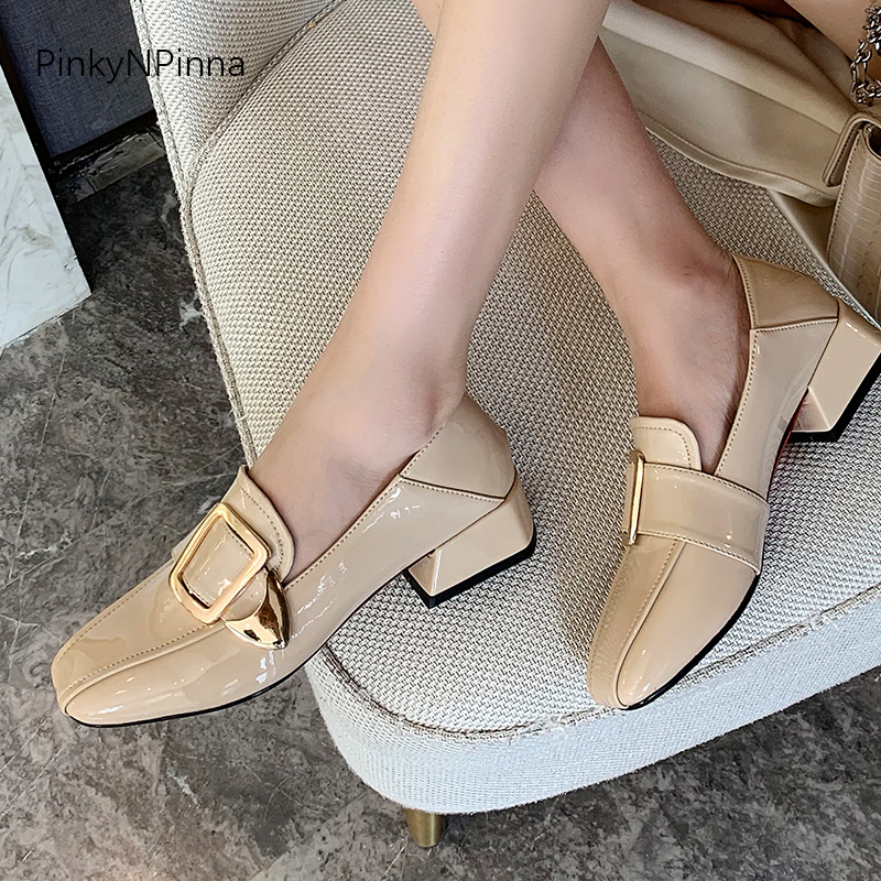 sale online uk cheap sale on feet at hot sale women spring metal square buckle patent leather loafers ...