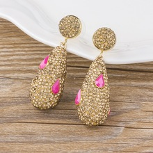 New Arrival Women Luxury Wedding Party Drop Earrings Inlay with Multicolor Rhinestones Big Water Drop Long Earrings Jewelry