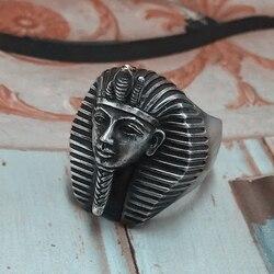 EYHIMD Vintage Egypt Tutankhamun Ring Men's Ancient Pharaoh Stainless Steel Biker Rings Egyptian Jewelry