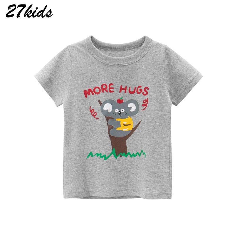 27kids Shirts Animal Print Koala Children's Clothing 2020 New Summer Kids Short Sleeve T Shirts Cotton Baby Tops Tees Clothes