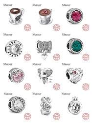 Novo eu amo a mãe amor rosa branco spcer copo de café grânulo caber pandora encantos originais prata 925 pulseira para as mulheres jóias da forma