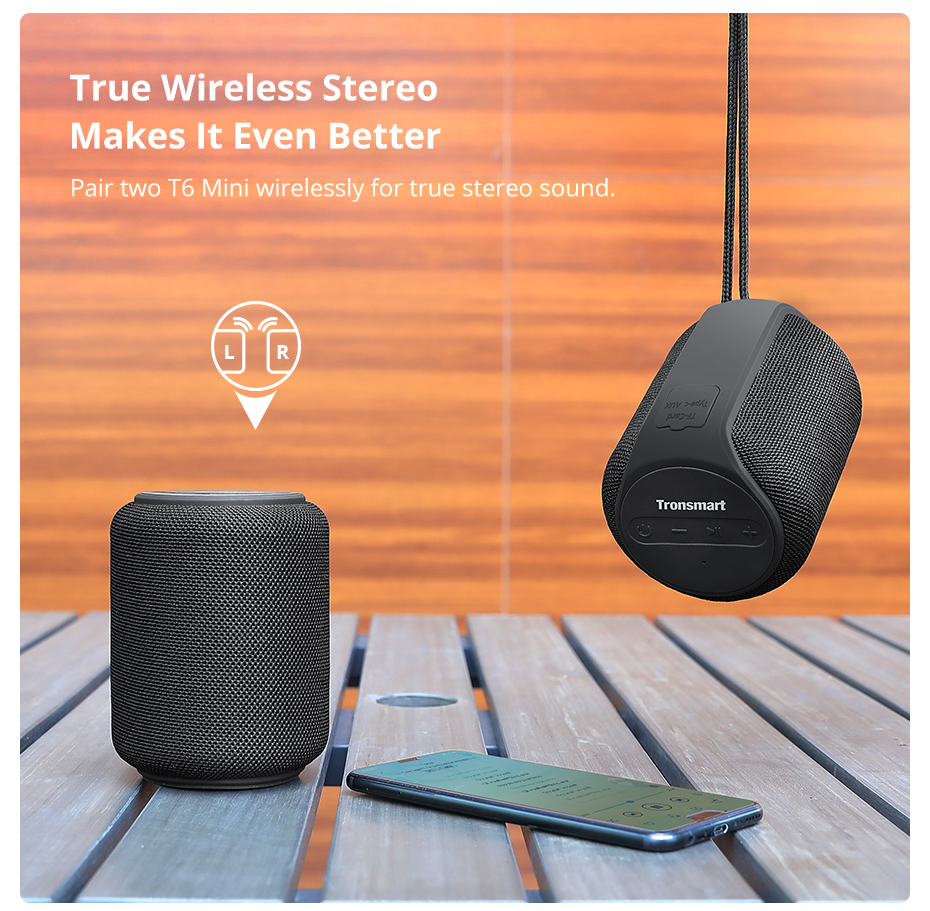 Tronsmart T6 Mini Bluetooth Speaker TWS Speakers IPX6 Waterproof Wireless Bluetooth 5.0 Speaker 24 Hours Play-time Portable Speaker with 360 Degree Surround Sound, Voice Assistant (8)