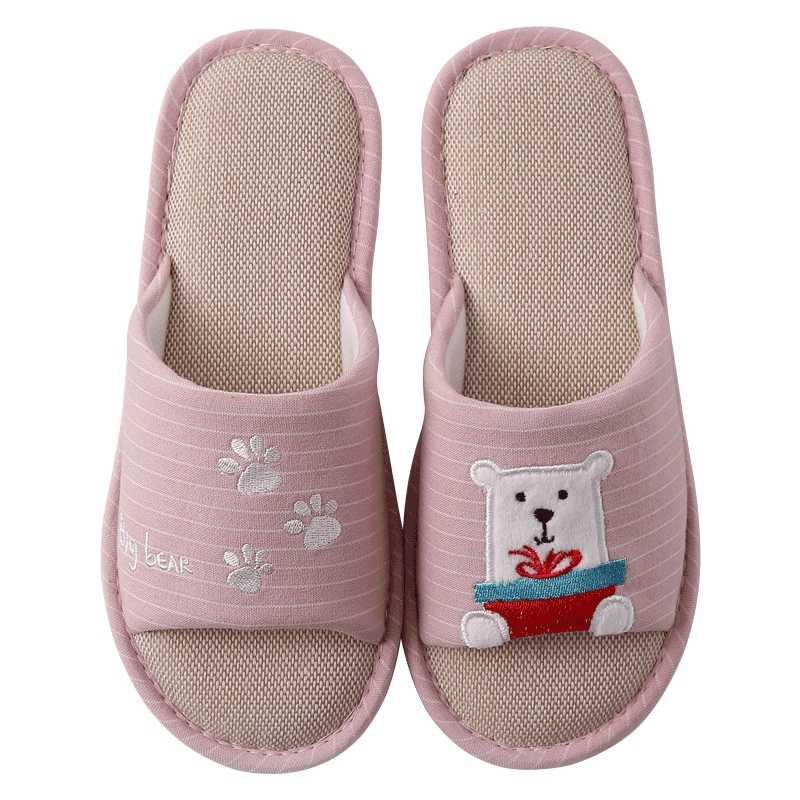 Zapatillas de cuero de moda nuevas y cómodas para mujer otoño casa piso de madera de dibujos animados conejo oso Zapatillas de algodón