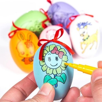 DIY Painting Egg Ornament Simulation Eggs Children Birthday Gift Toy Hand Job Painted Decorative Crafts Toys Random Color image