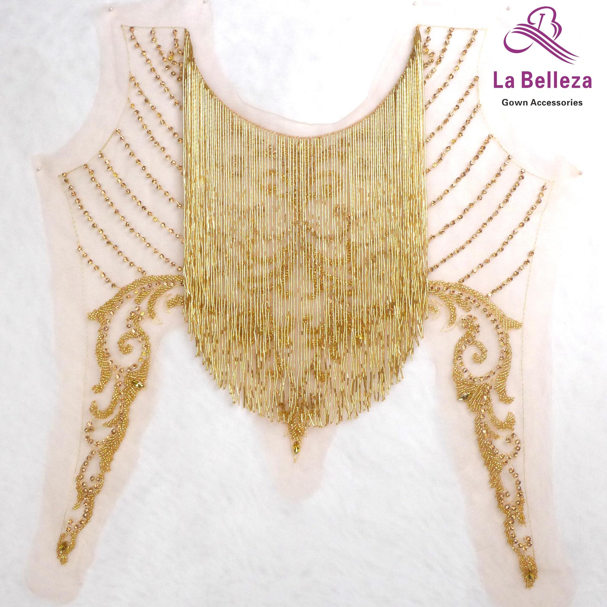 1 pièce nouvelle mode or/rouge/argent perles frange patch pour robe de décoration/design de mode