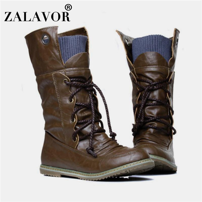 Ankle-Boots Shoes Flats Vintage Autumn Plus-Size Women Winter for 32-52