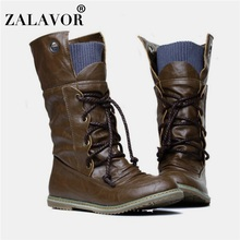 Plus Size 32-52 Vintage Motorcycle Ankle Boots For Women Winter Autumn Snow Boots Leather Flats Motorcycle Boots Shoes стоимость