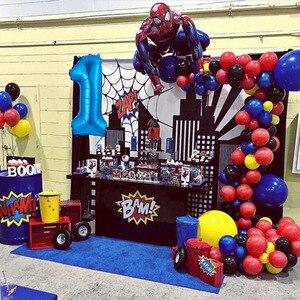 87 Stks/partij Rood Blauw Latex Boog Kit Guirlande Ballon 3D Giant Spiderman Folie Hero Bal Verjaardagsfeestje Decoratie Jongen Speelgoed ballonnen