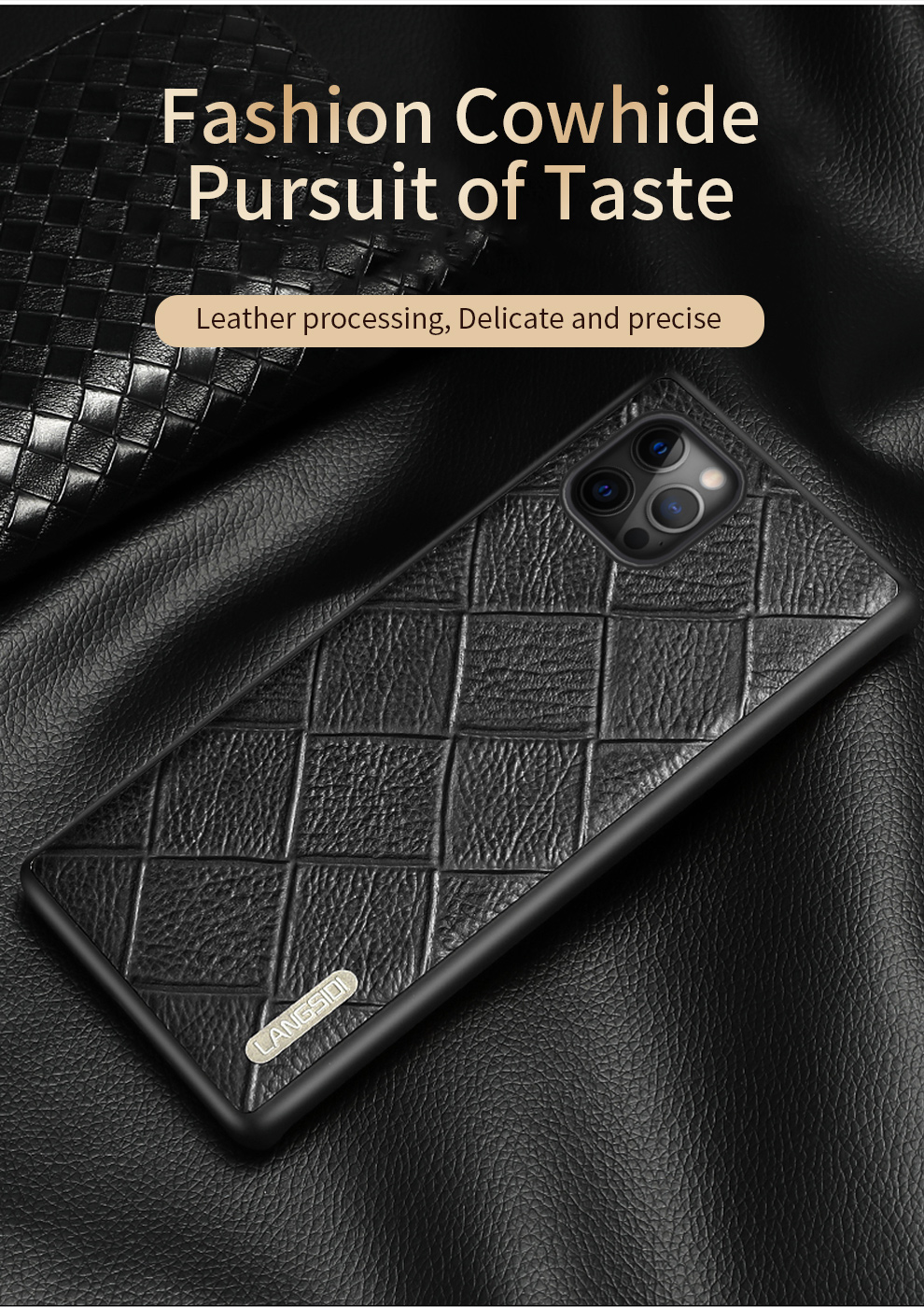 Genuine Leather Rhombus Grain Phone Cases For iPhone 12