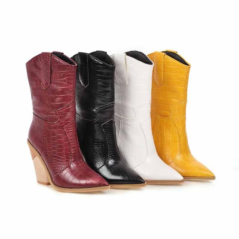 Artı boyutu 34-48 yeni 2020 kadın botları suni deri toynak yüksek topuklu sonbahar kış yarım çizmeler kadın cowgirl bayanlar batı botları