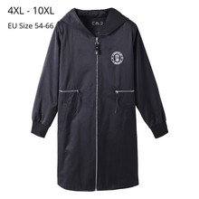 Plus Size 10XL 8XL 6XL 4XL Women Long Sleeve Autumn Spring Windbreak Trench Coat Womens Slim Fit Coat Long Overcoat For Mujer