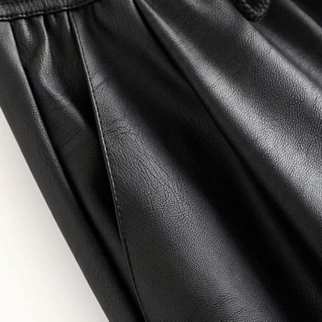 Vintage Stylish Pu Leather Pockets Pants Women 2020 Fashion Elastic Waist Drawstring Tie Ankle Trousers Pantalones Mujer 30