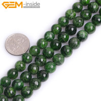Gem inside AAA Natural Round Smooth Green Diopside Beads For Jewelry Making Strand 15inches DIY Jewellery