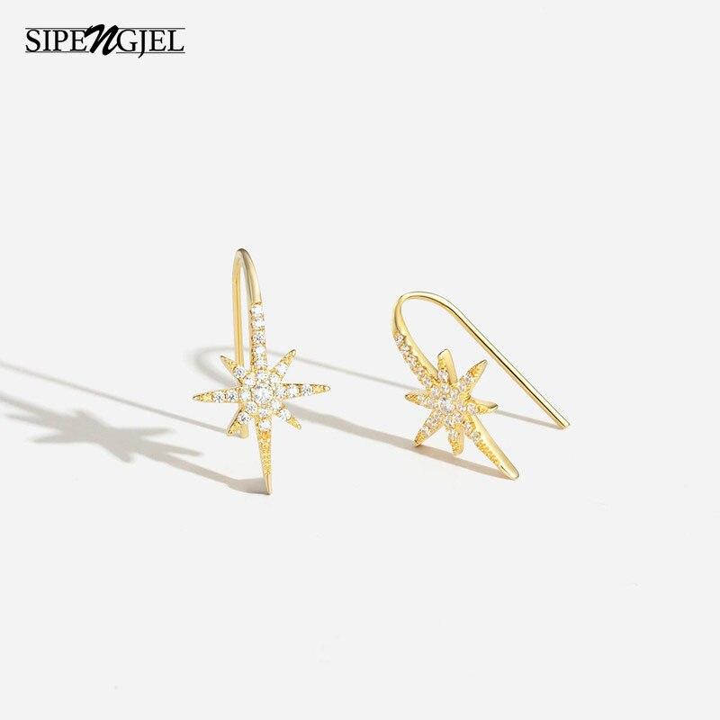 Pendientes de circonio cúbico a la moda para mujer, aretes de estrella, color dorado, joyería 2020