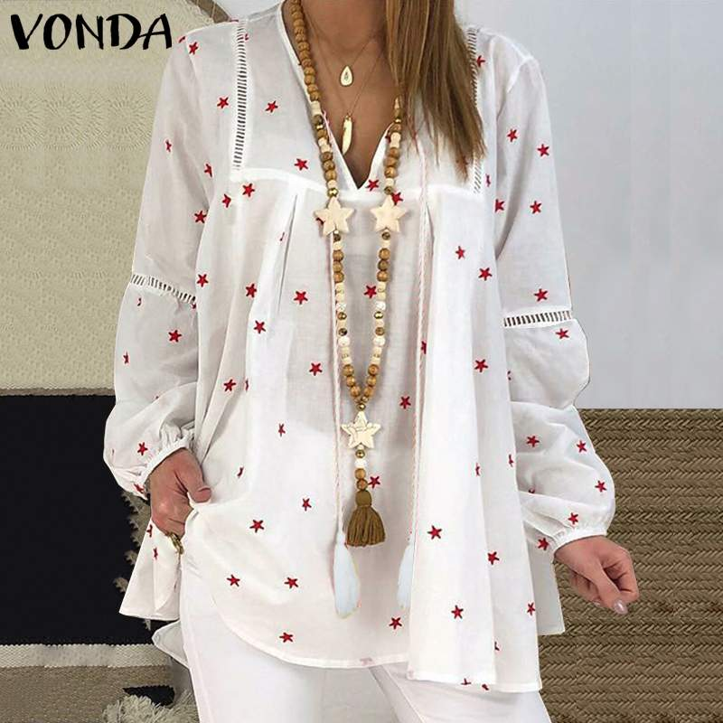 Plus Size Women Blouse VONDA 2020 Autumn Vintage Long Lantern Sleeve Shirts V Neck Star Printed Tops Beach Casual Party Blusas